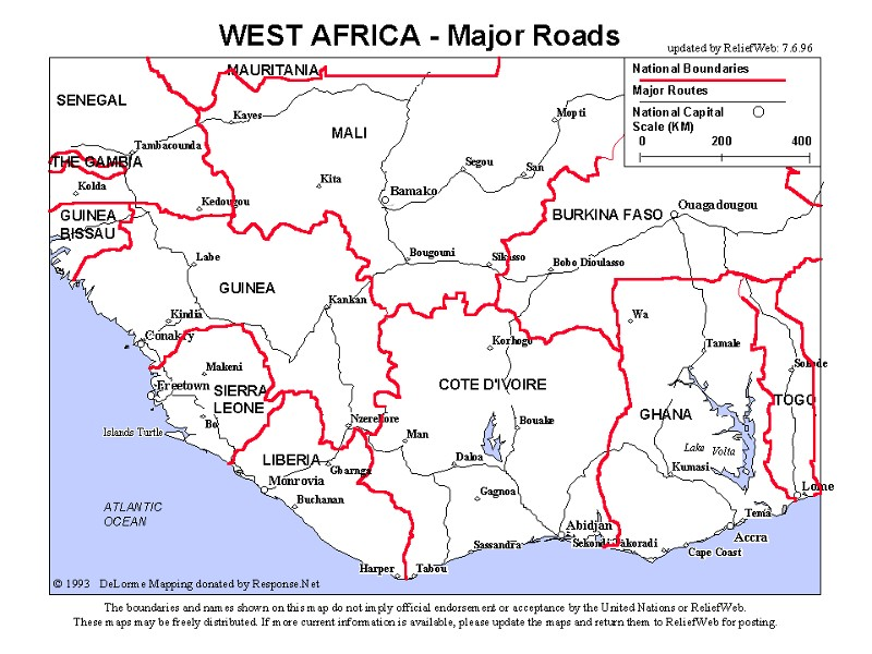 Map of west africa simple map of west africa ccuart Images